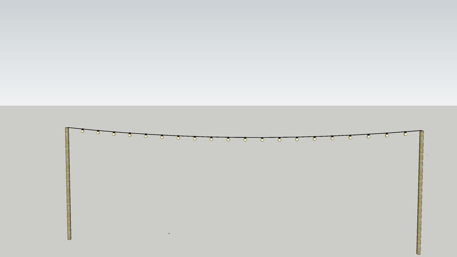 Lightstring (guirlande) 10m with ledbulbs on wooden pole