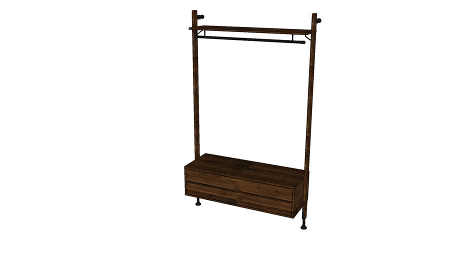 THEO WALL UNIT CLOTHING RAIL WITH DRAWER MKO166-CRD