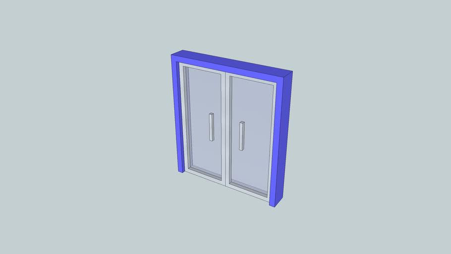 double glass opening door