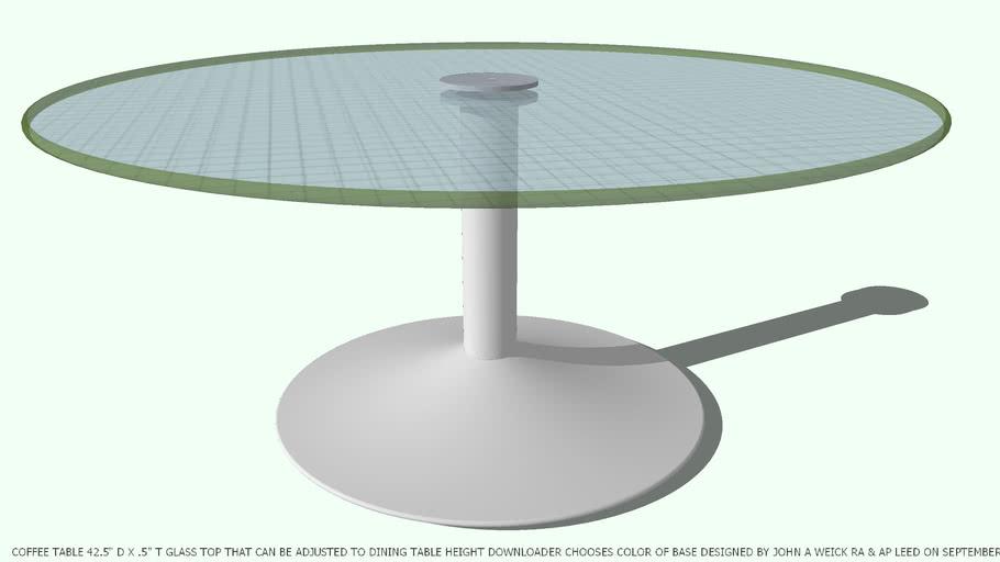 TABLE COFFEE ADJ 42D GL DESIGNED BY JOHN A WEICK RA & AP LEED