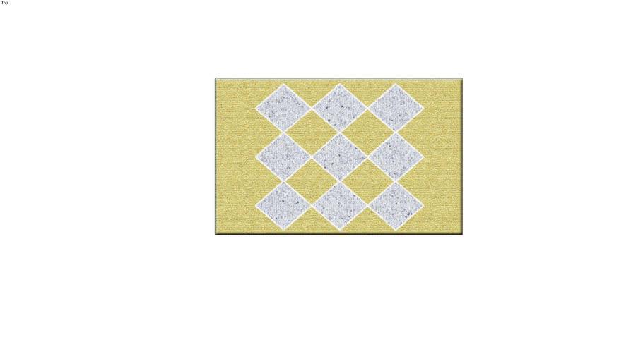 Rectangular Bath Rug, yellow with white diamond pattern