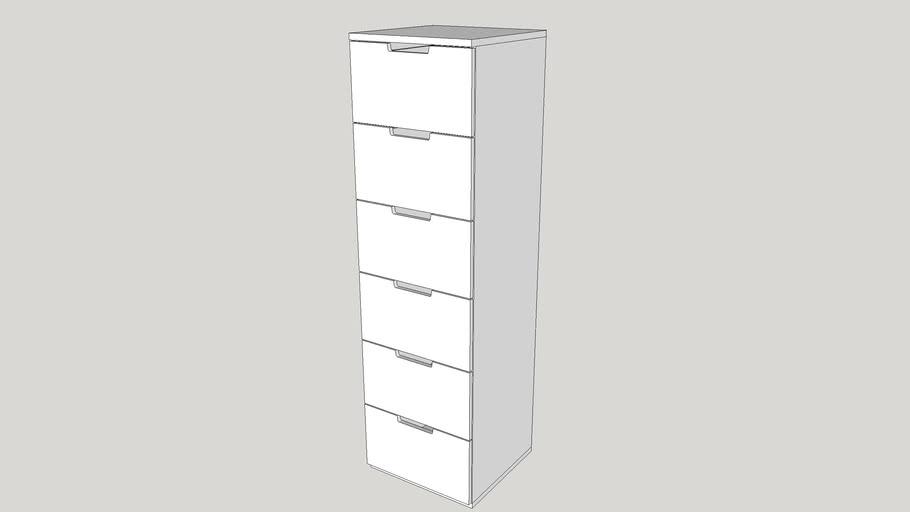 NORDLI Chest of 6 drawers, white