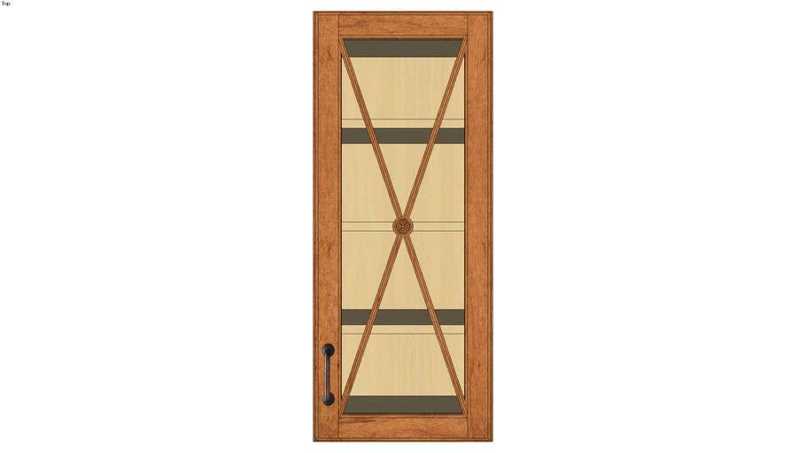 Wall Single Door 36Hx15D with Classic Mullion Antiquity Glass Insert