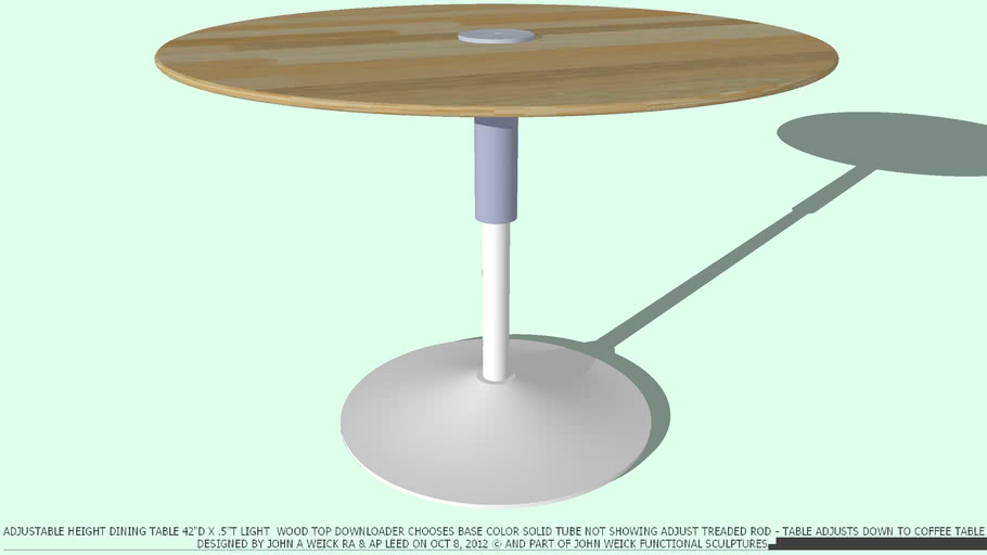 TABLE DINING ADJ 42DX.5 LT WD TOP CHOOSE BASE COLOR BY JOHN A WEICK RA
