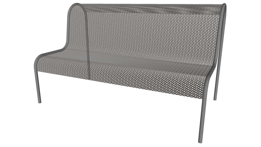 Curved Metal Bench - Detailed