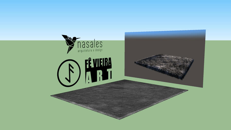 Fur Modern Gray Carpet by Fê Vieira ART( Tapete peludo cinza moderno)