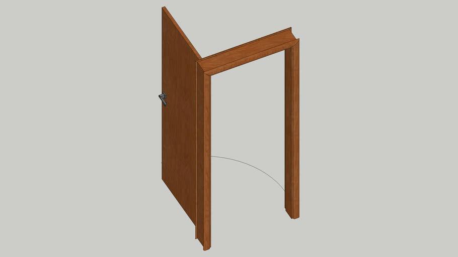 Porta madeira folha 80cm com dobraciça e fechadura