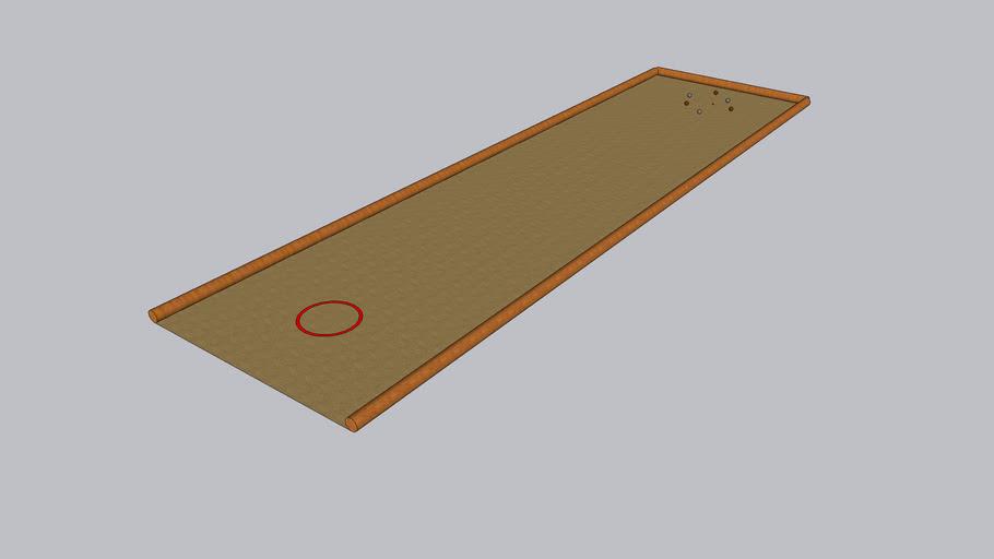 Terrain de pétanque sable beige et rondins de bois15m x 4m