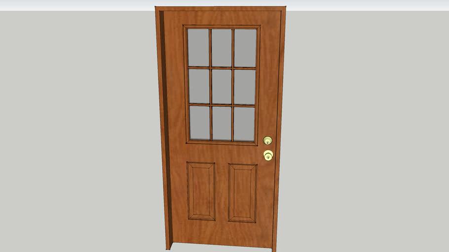 Door, Exterior, 9 lite wood