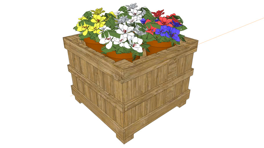 Wood Crate Floral Display - Potted Flowers