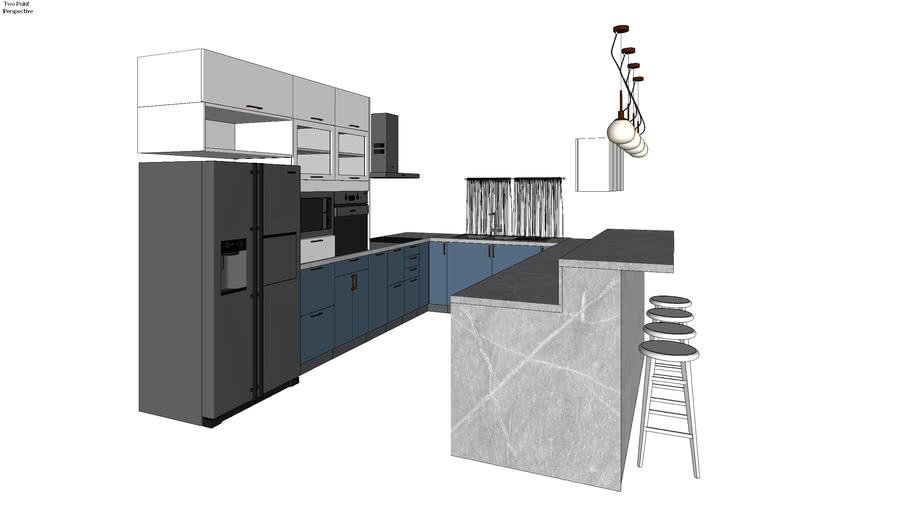 full kitchen, fridge, microwave, oven, bar, pendant maytoni lights