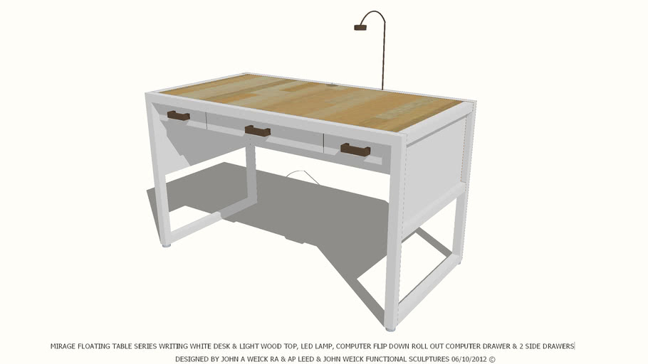 TABLE DESK WHITE & LIGHT WOOD TOP DESIGNED BY JOHN A WEICK RA & AP LEED