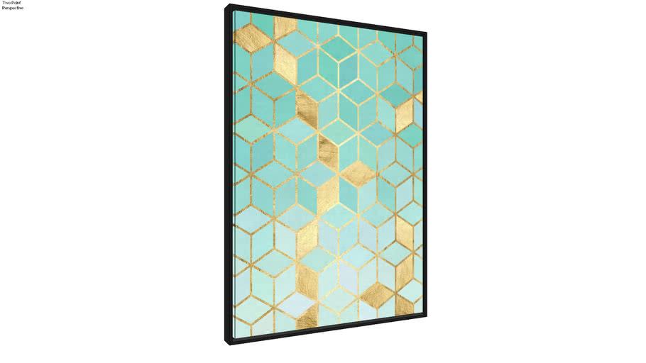 Quadro Mosaico Azul e Ouro