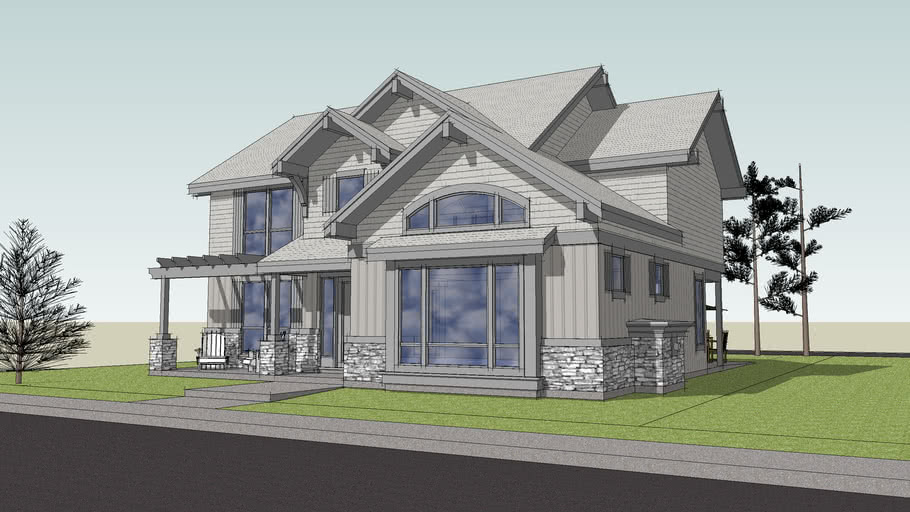 3D Exterior Model of Plan 22169 from Alan Mascord Design Associates