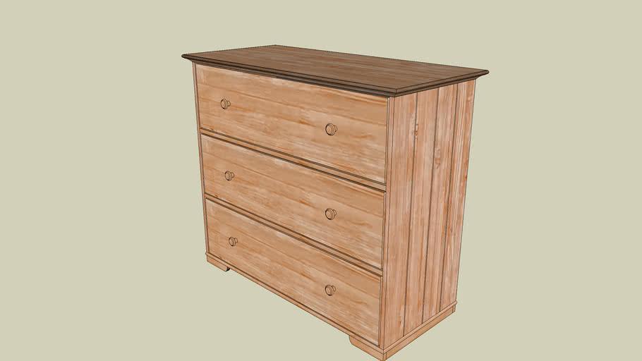 HURDAL IKEA Chest of 3 drawers light brown