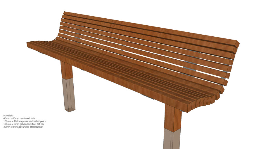 8ft Wooden Bench