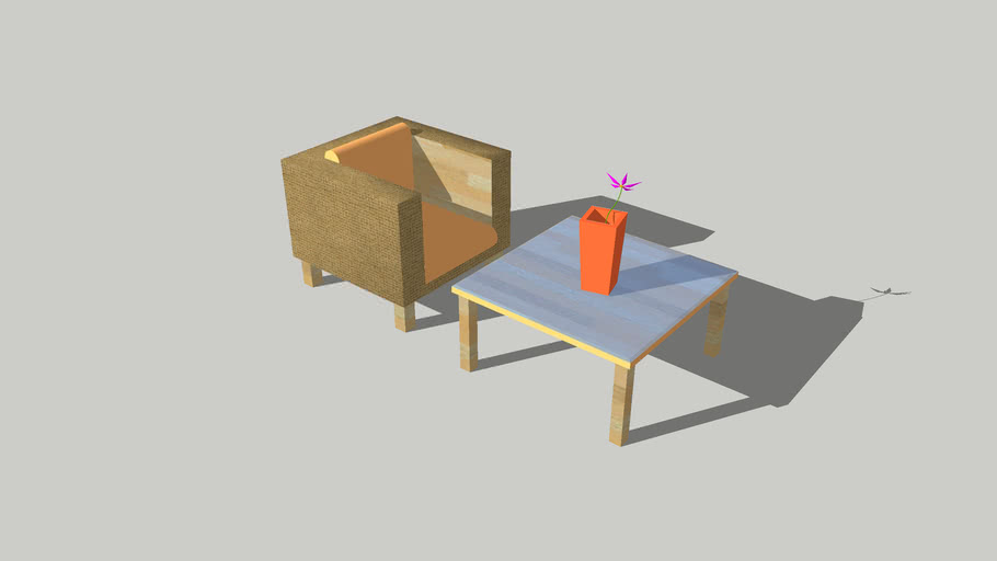 A chair and a coffee table