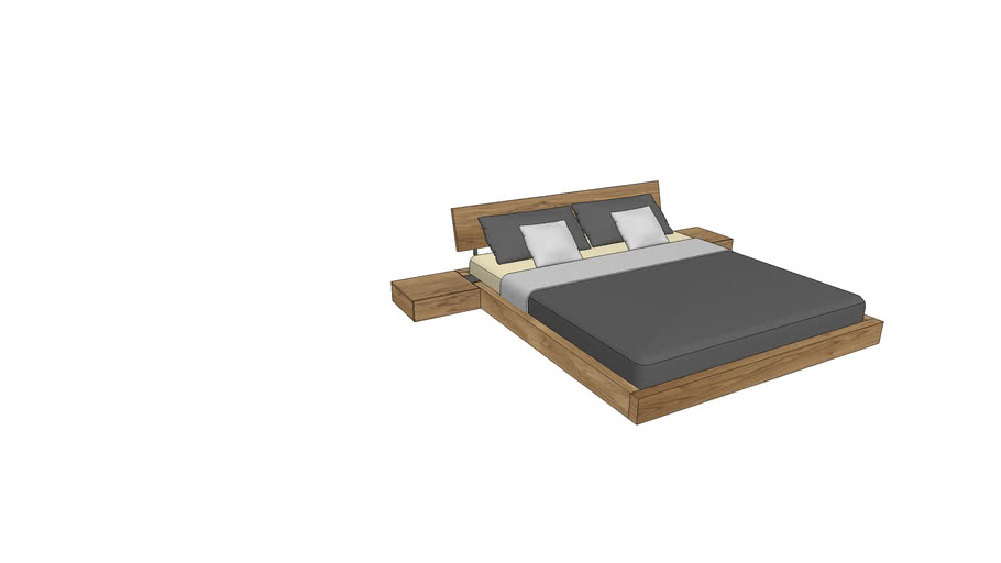 LA740+800, Lausanne Bed 180x200cm with Nightstands