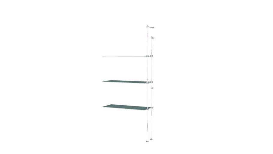 Tube Outrigger - 3 Glass Shelves - Add-on Unit