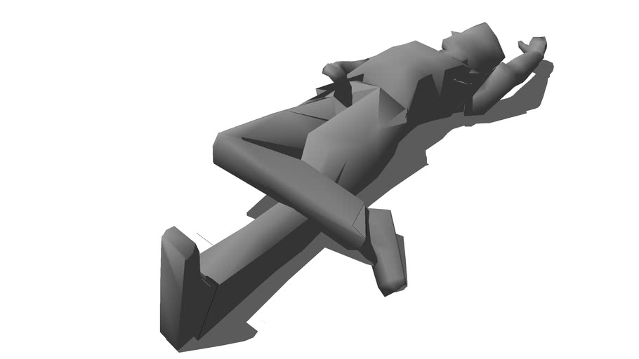 3D Man Deceased while Lying Down with legs Crossed