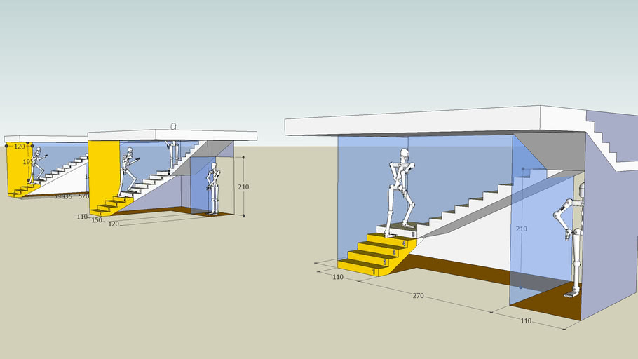 Scala con 1, 2 o 3 rampe