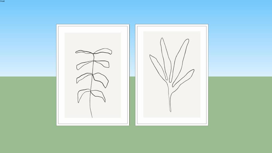 Conjunto de Quadros Minimal Leaf 01 e Minimal Leaf 02 - Rachel Moya