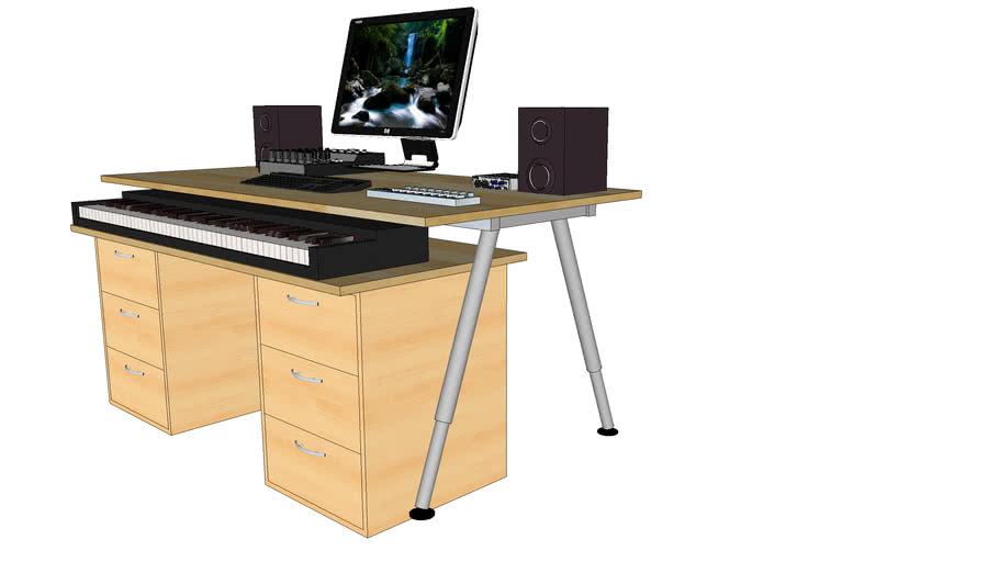 Verwonderlijk Ikea based Home Studio Desk for 88 keys digital piano | 3D Warehouse CY-14