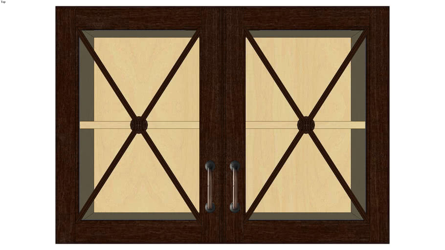 Wall Double Door 24H with Classic Mullion Antiquity Glass Insert