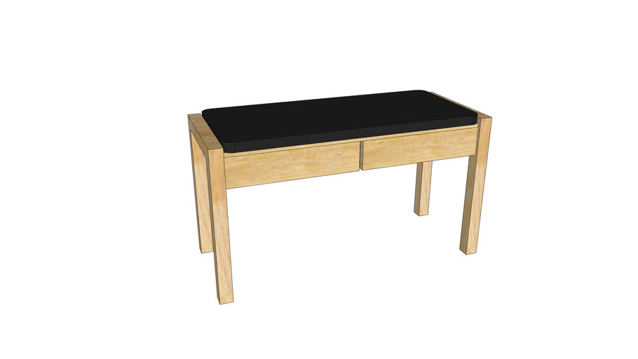 Mondeo Hall Stool with 2 Drawers_Unfinished