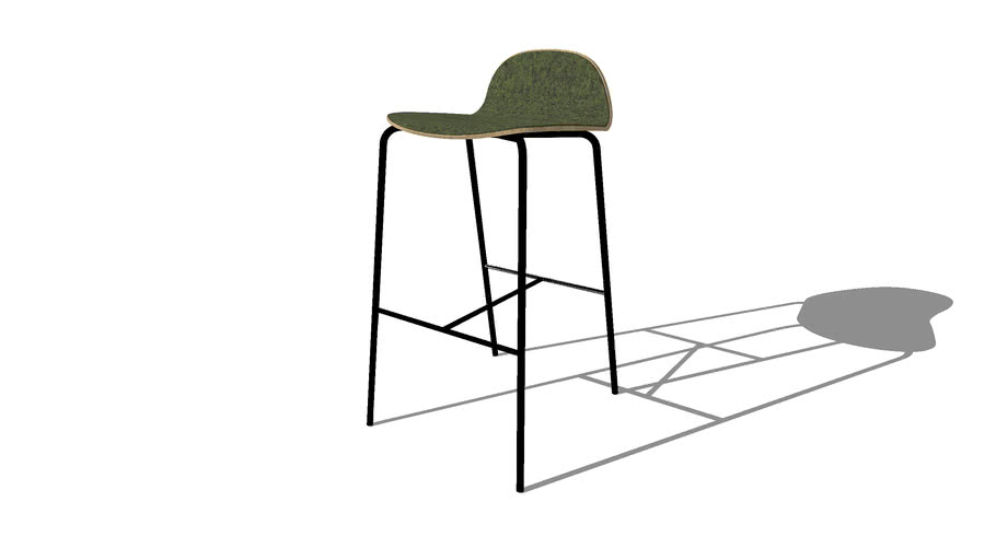 Nam Nam Contract Low Back Bar Stool, Front upholstered, By Icons of Denmark