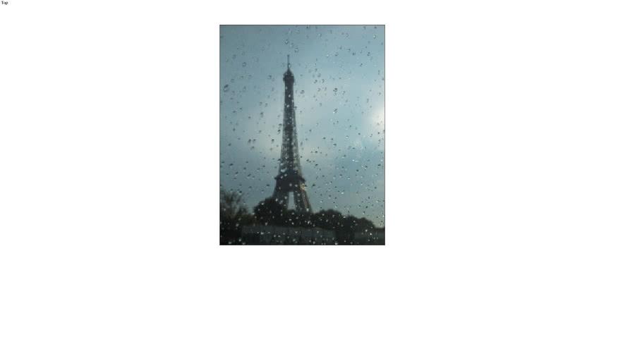 Eiffel Tower thru Rainy Window