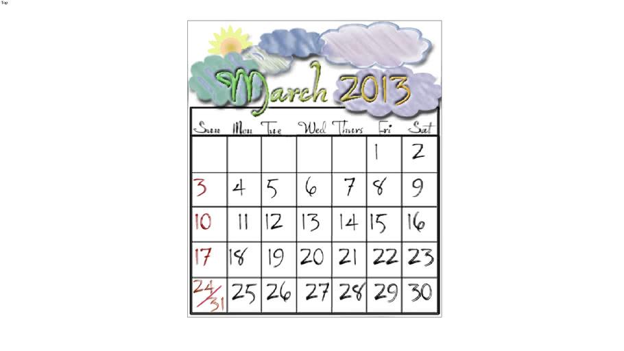 Calendar, March 2013
