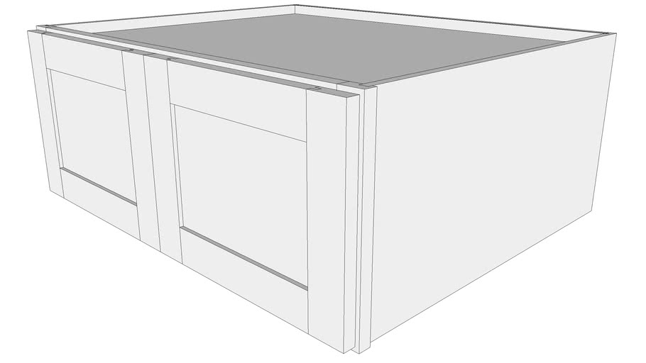 "Bayside Wall Cabinet 24W3012B - 24"" Deep, Butt Doors"