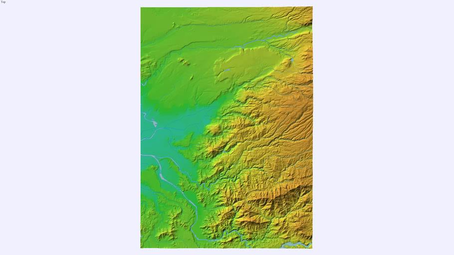 布田川断層付近の3Dモデル