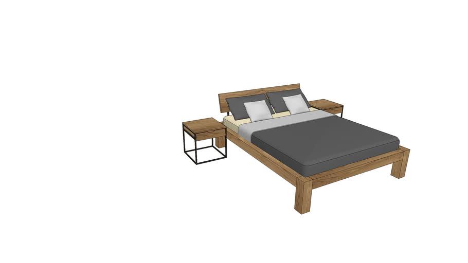 BA730+IZ800, Basel Bed 160x200cm with Izzy Nightstands