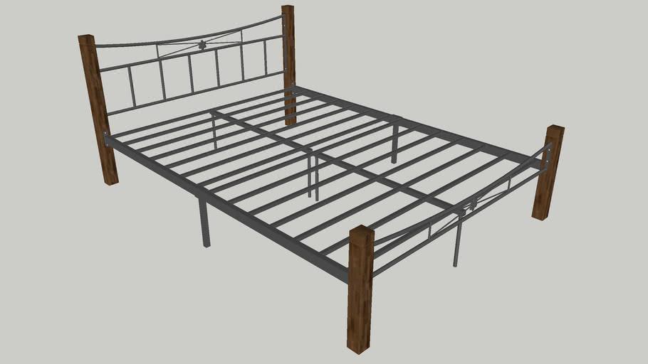 Hampton Queen Steel Bed With Wooden Posts