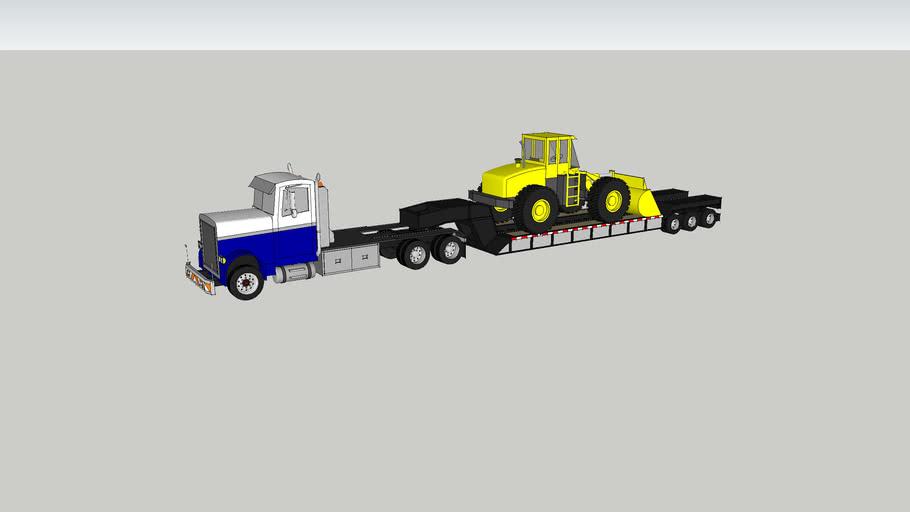 tractor trailer hayling front end loader