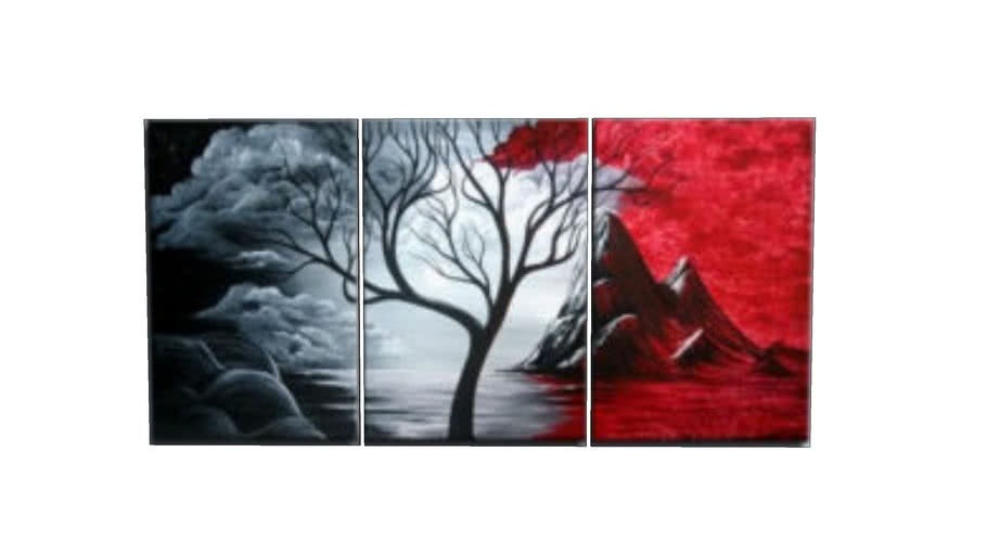Modern Wall Art Red Black White Oil