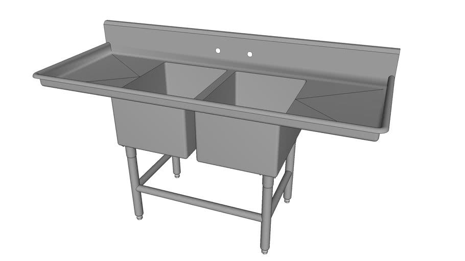 2-Compartment Sink w/2-Drainboards [2NSF1723-DB2-XBf]