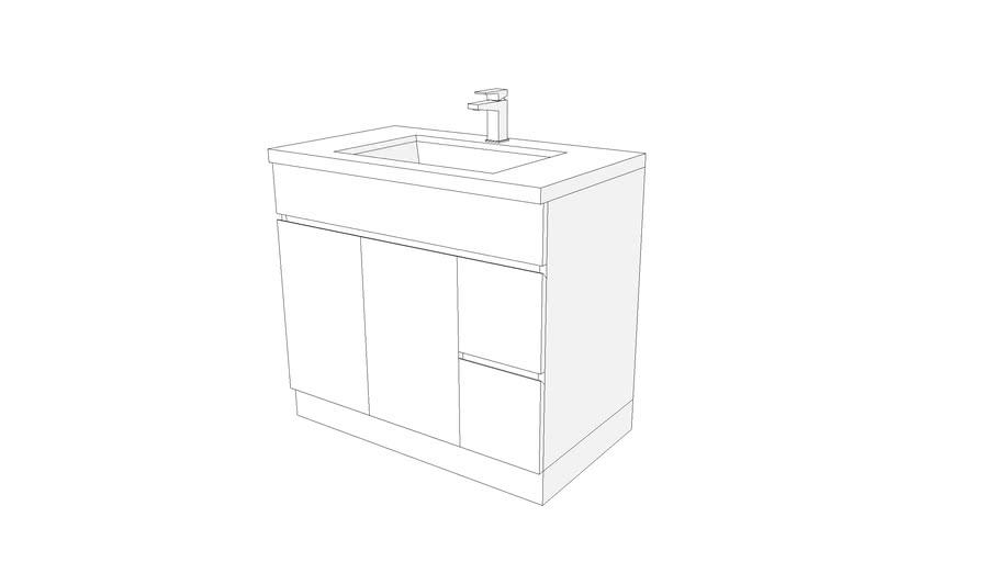 """Low Poly Bathroom Vanity 36""""-wide"""