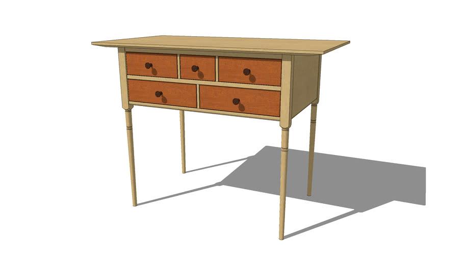 Shaker Side Table - 5 Drawer