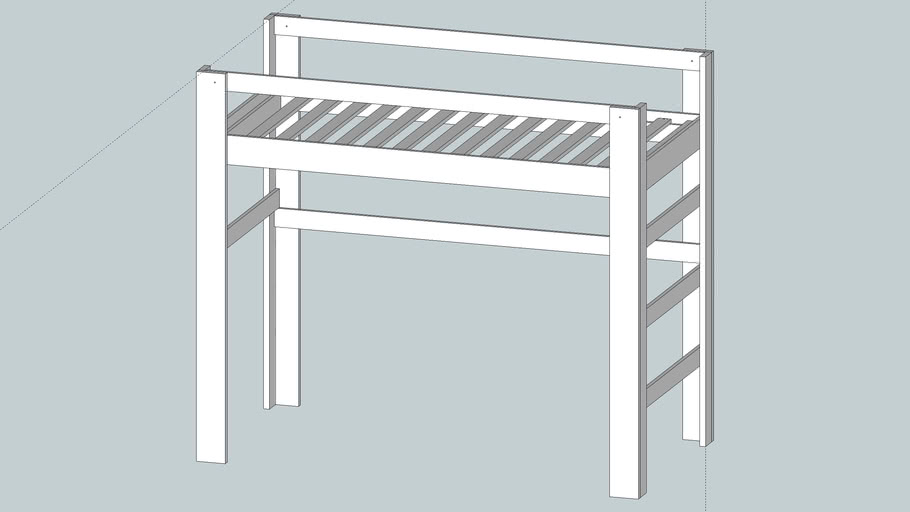 Simple loft bed, with measurements