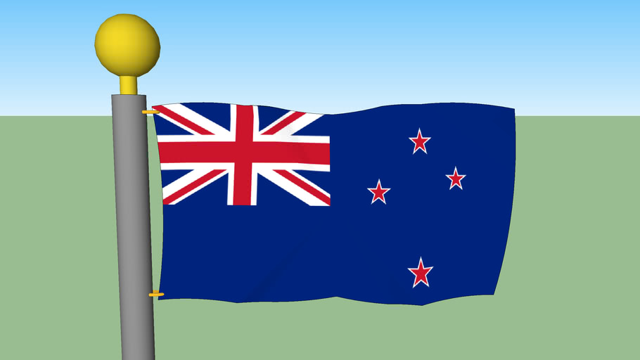 New Zealand Flag with Flagpole