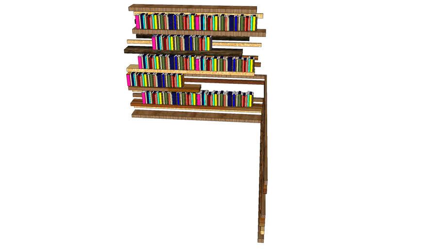 book shelf wood with books no 2