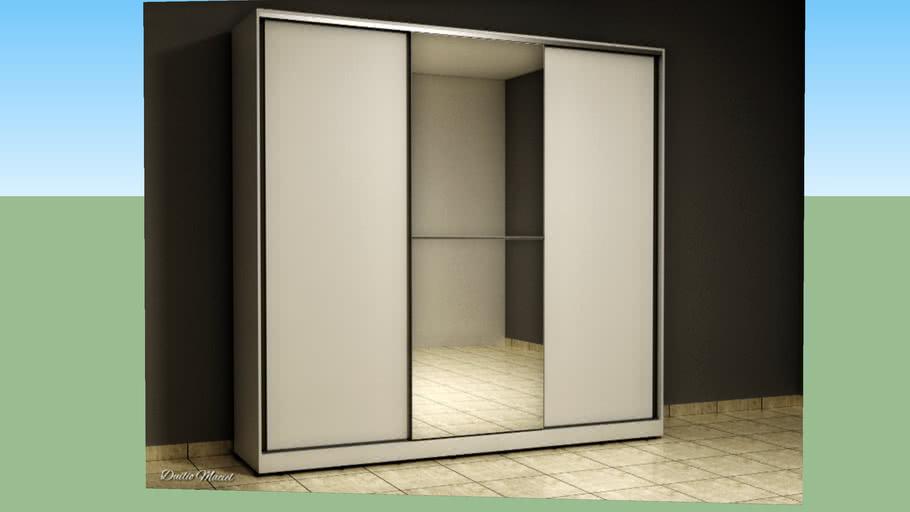 Guarda roupas 3 portas de correr, sendo 1 em espelho.
