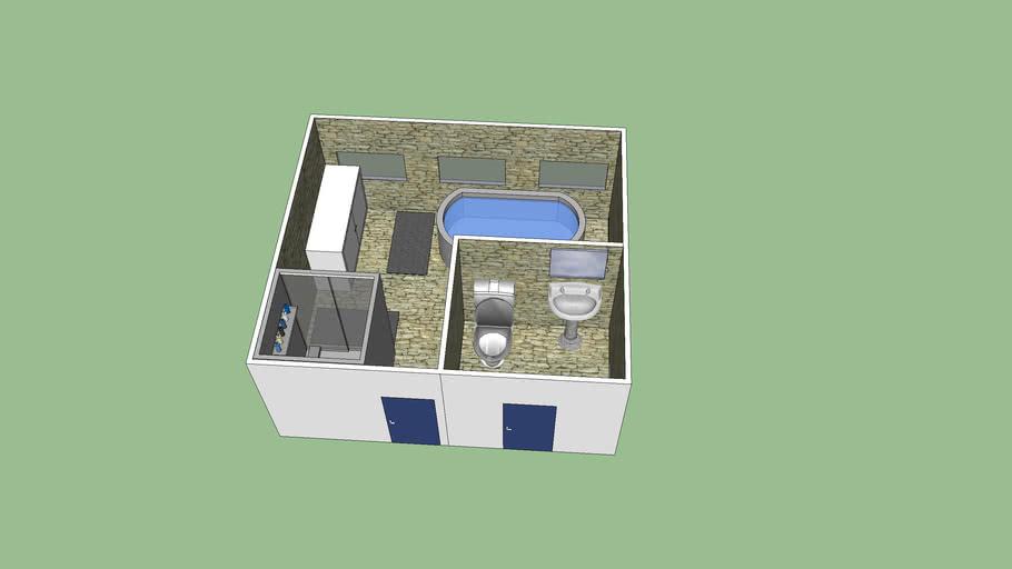 Salle de bain avec toilletes et lavabo séparés
