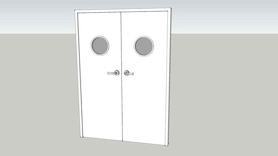 Double doors - simple white set of double doors with portholes.