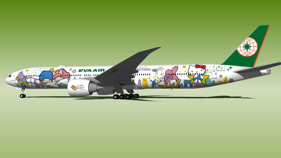 "EVA Air長榮航空 Boeing 777-36N/ER B-16722 ""Shining Star"" Sanrio-Hello Kitty Special Livery (2015) (Wi-Fi Dome)"