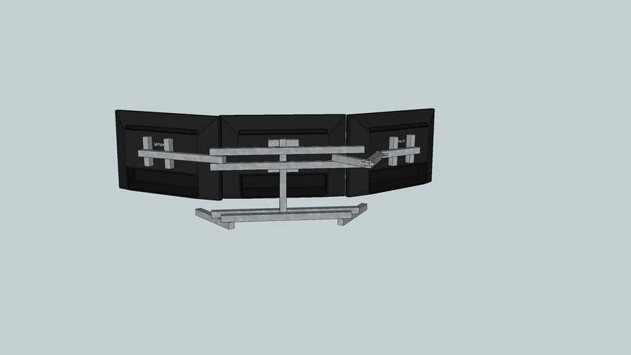 triple monitor with arrangment arms