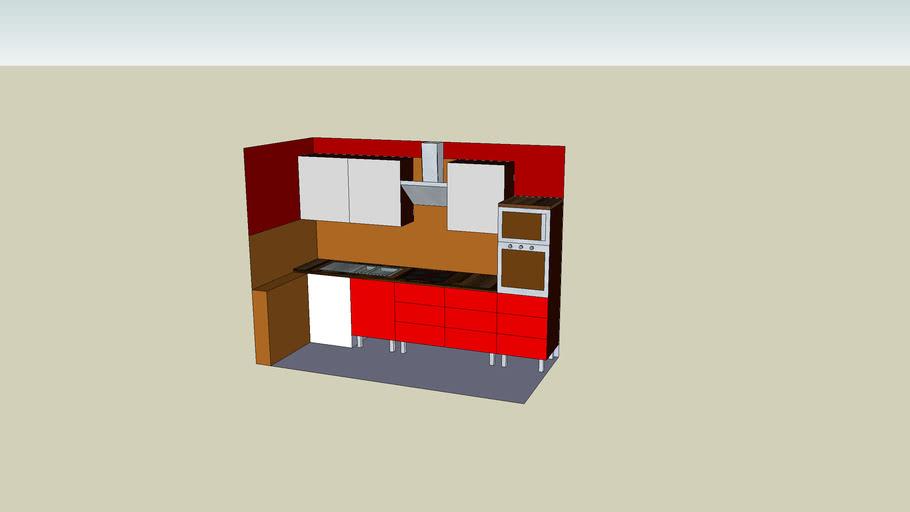 Küchenzeile in Rot